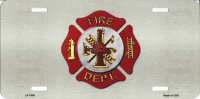 Fire Fighter Logo Metal License Plate