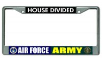 Air Force Army House Divided Chrome License Plate Frame