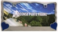 Blue Hearts On Chrome License Plate Frame