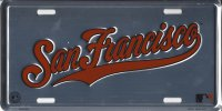 San Francisco Giants Anodized Metal License Plate