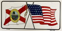 Florida Crossed U.S. Flag Metal License Plate