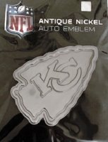 Kansas City Chiefs Antique Nickel Auto Emblem