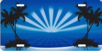 Blue Sunburst with Palms Airbrush License Plate