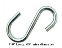 "7/8"" Long, .091 wire diameter ""S"" hook"