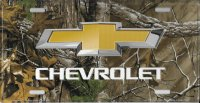 Chevrolet Bow Tie Woodland Metal License Plate