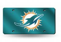 Miami Dolphins Green Laser License Plate