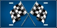 Checkered Flag (Blue) Airbrush License Plate