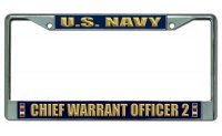 U.S. Navy Chief Warrant Officer 2 Chrome License Plate Frame