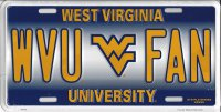 WVU FAN West Virginia Metal License Plate