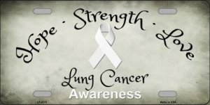 Lung Cancer Ribbon Metal License Plate