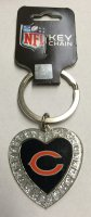 Chicago Bears Bling Rhinestone Heart Keychain