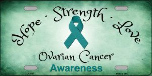 Ovarian Cancer Ribbon Metal License Plate