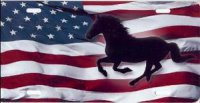 Running Horse on American Flag License Plate