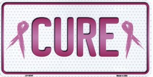 Cure With Ribbons Metal License Plate
