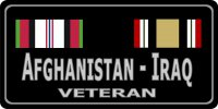 Afghanistan - Iraq Veteran Photo License Plate