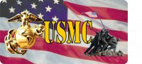 Marine Logo With Iwo Jima Photo License Plate