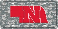 Nebraska Cornhuskers Camo Metal License Plate