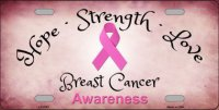 Breast Cancer Ribbon Metal License Plate
