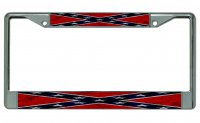 Confederate Rebel Flag Worn Chrome License Plate Frame