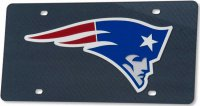 New England Patriots Carbon Fiber Design Laser License Plate