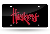 Nebraska Cornhuskers Black Laser License Plate