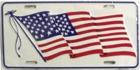 American Waving Flag (White) License Plate