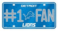 Detroit Lions #1 Fan Metal License Plate