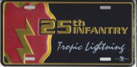 25th Infantry Tropic Lightning Metal License Plate