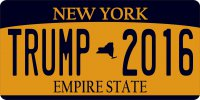 New York State Trump 2016 Photo License Plate