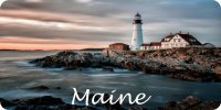 Maine Lighthouse Scene Photo License Plate