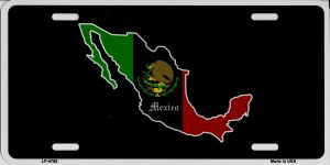 Mexico Country With Flag Metal License Plate