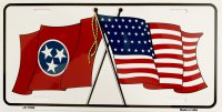Tennessee Crossed U.S. Flag Metal License Plate