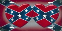 Double Hearts on Confederate Flag License Plate
