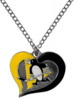 Pittsburgh Penguins Swirl Heart Necklace