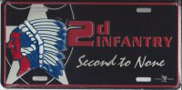 2D Infantry Second To None Metal License Plate