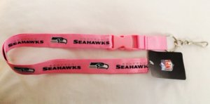 Seattle Seahawks Pink Lanyard With Safety Fastener