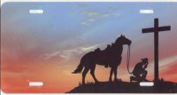 Cowboy Kneeling Praying Airbrush License Plate