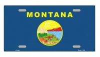 Montana State Flag Metal License Plate