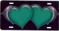 Green Hearts With Dolphins License Plate