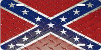 CONFEDERATE FLAG DIAMOND NOVELTY METAL LICENSE PLATE