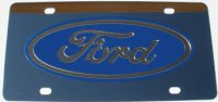 Ford Blue Logo Stainless Steel License Plate