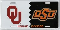 Oklahoma / OSU House Divided Metal License Plate