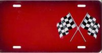 Checkered Flag (Red) Offset License Plate
