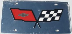Corvette C3 Flags Silver Laser Cut License Plate
