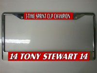 Tony Stewart Champion Photo License Plate Frame