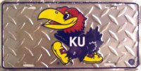 Kansas Jayhawks College Diamond License Plate