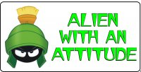 Marvin Martian Alien With An Attitude Photo License Plate