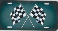 Checkered Flag (Green) Airbrush License Plate