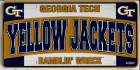 Georgia Tech Yellow Jackets Ramblin Wreck Metal License Plate