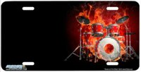 Drums on Fire Offset Airbrush License Plate